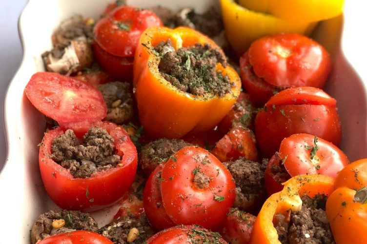 Stuffed Bell Peppers and Tomatoes