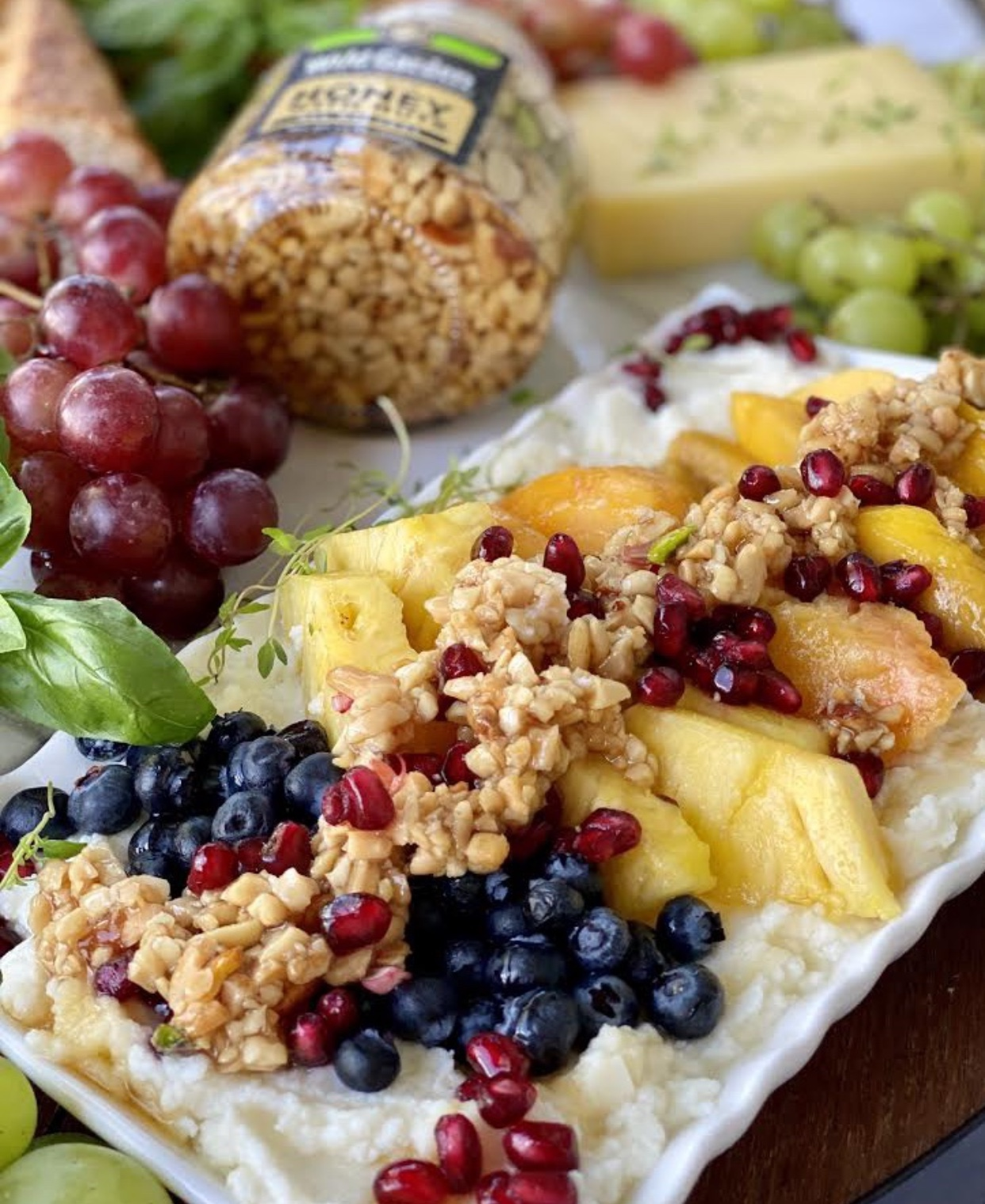 Ricotta Cheese Dip with Fresh Fruits and Honey Nut