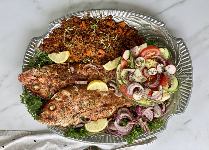 red snapper with persian sumac and wheat pilaf